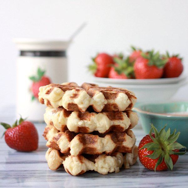 Get this easy real Belgian Waffle Recipe (aka Liege Waffles) made with the sweet yeast dough master recipe and an easy and substitute for pearl sugar!