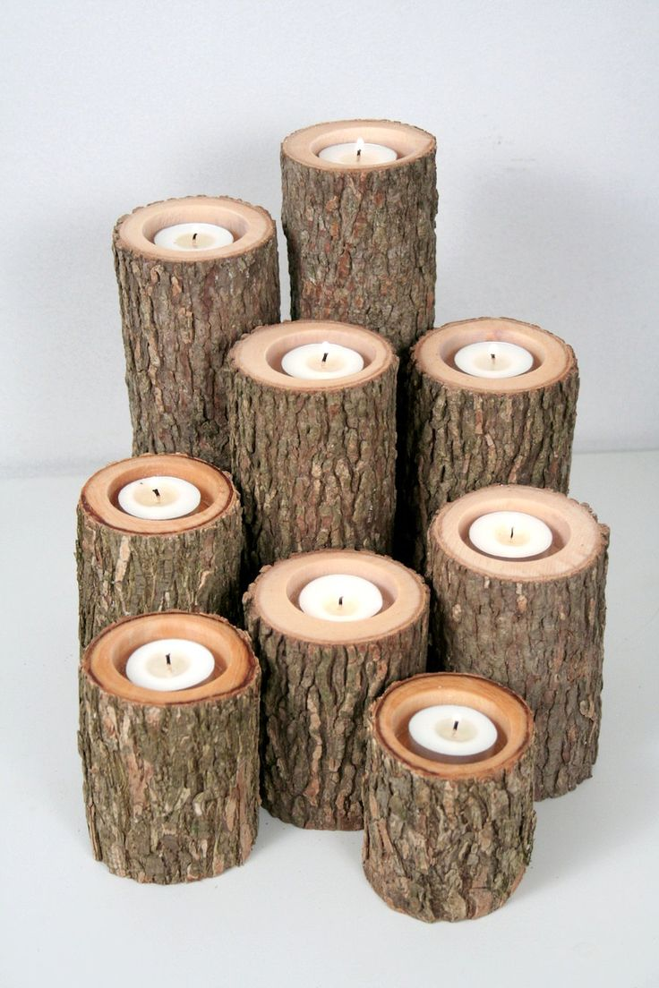 Tree Branch Candle Holders I- Rustic Wood Candle Holders, Tree Slice, Wooden Candle Holders. $45.50, via Etsy.