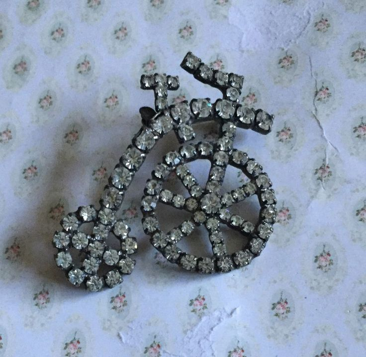 Vintage Clear Rhinestone Penny Farthing Bicycle Pin Brooch ~ Large!  | eBay