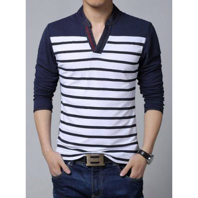 Material: Polyester, Cotton  Sleeve Length: Full  Collar: V-Neck  Style: Casual  Weight: 0.5KG  Package Contents: 1 x T-Shirt  Pattern Type: Striped