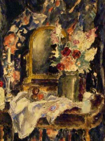 Interior Scene Dressing Table and Flowers - Maud Sumner (1902-1985) Mixed Media