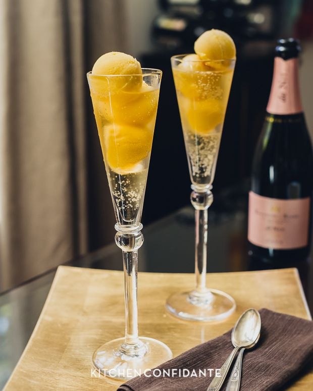 Sparkling Floats made with sparkling wine or champagne and sorbet - this is made with mango sorbet, but would also be great with raspberry, blueberry and other sorbet flavors