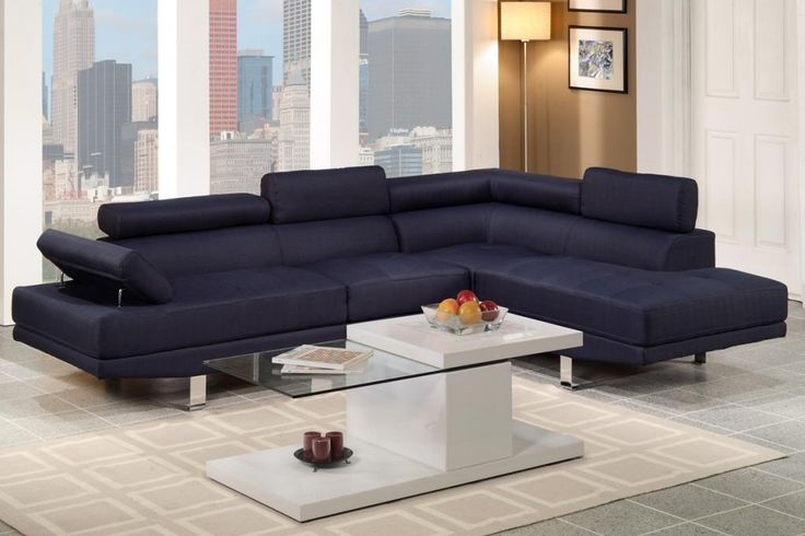 Chaise Sofa Poundex Furniture Dark Blue Blended Linen Upholstered PCs Full Length Sectional Sofa Set with Pillow Back Rest Chrome Legs For the Home Pinterest