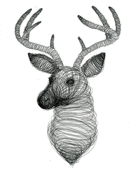 Spiral Design Deer  Print  Ink  Illustration  Deer  by TwoDeer #spiral #deer