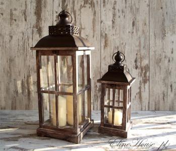 LATARNIA DREWNIANY LAMPION LAMPA SHABBY 41cm