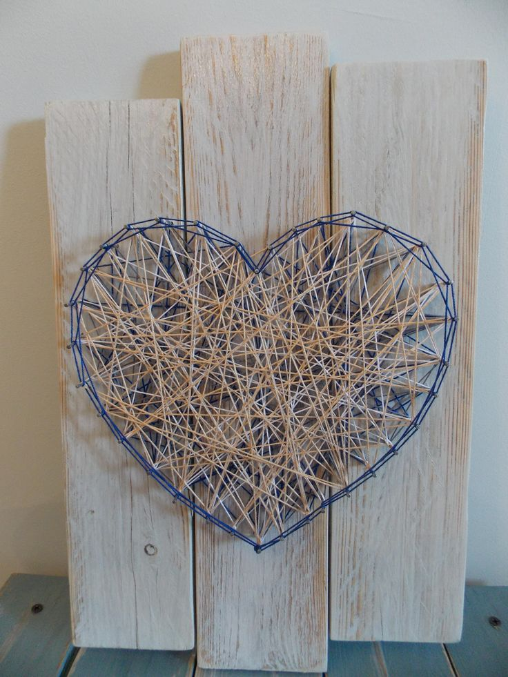 Stringed art, wood panel, pallets, heart made of cotton thread by LIandCO on Etsy