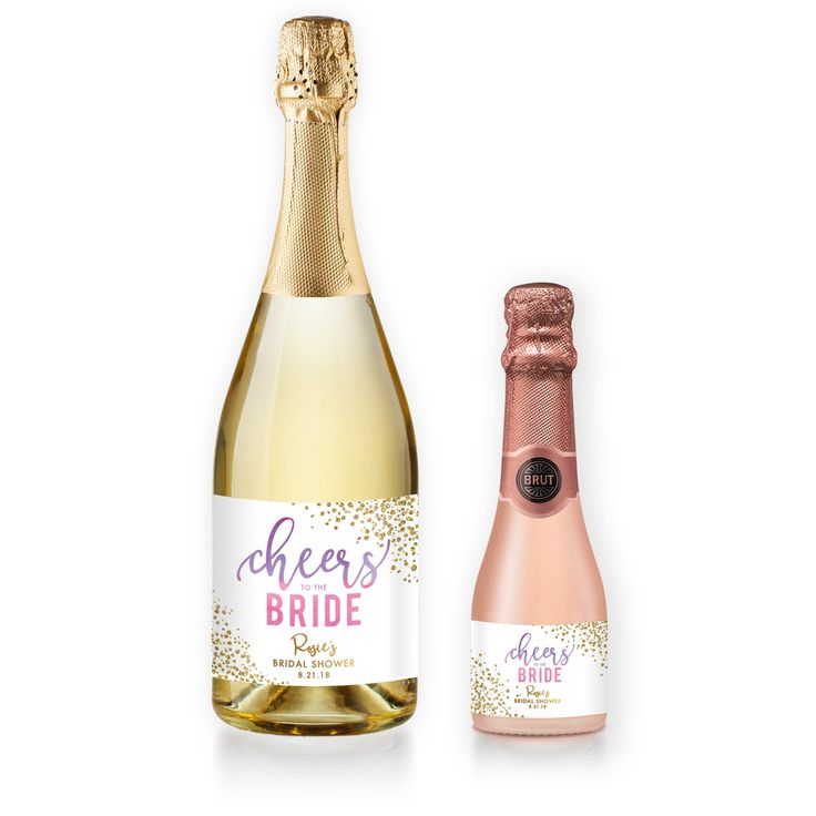 """""""Rosie"""" personalized bridal shower champagne labels with purple and pink watercolor ombre lettering and gold glitter details. Perfect for a bridal shower, engagement party, or wedding. Wine labels and coordinating stationery also available, at Digibuddha.com 