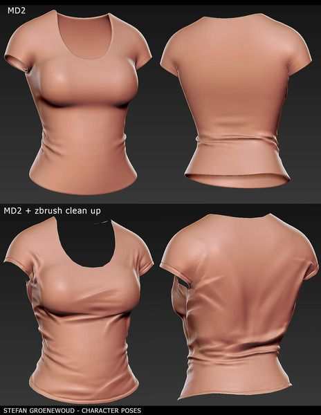 Zbrush T-shirt sculpture for personal 3D sketchbook. It was awesome to experiment with the workflow between MD2 and Zbrush.Took me approximately 5 hours, MD2 really helped to speed up the creation of the base mesh.