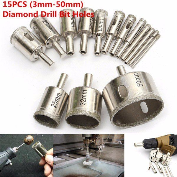 15pcs 3 50mm Diamond Drill Bit Set Hole Saw Cutter For Tile Ceramic Glass Porcelain Marble Tool Accessories From Tools On Banggood Com Porselen
