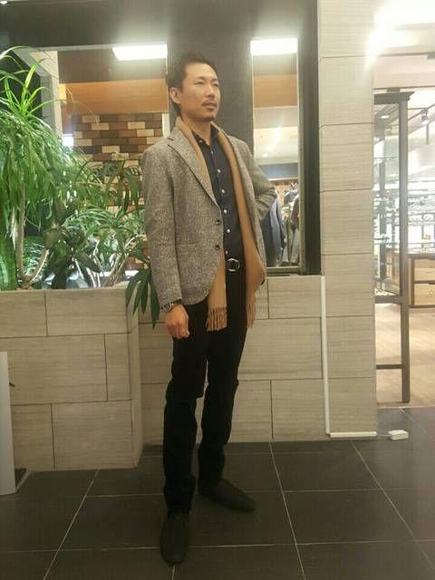 Mapel ウールグレンチェックジャケット デニムシャツで大人目なカジュアルスタイル。