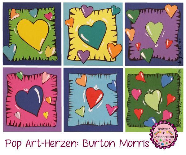 Zum Muttertag haben meine Schüler zusätzlich zum  Herznagelbild  nun noch Herzbilder im Stil von Burton Morris  gemacht. Die Schüler und...