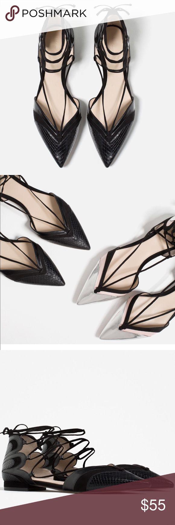 Zara pointy string flats shoes Black 2016 , NWT Zara Shoes Flats & Loafers