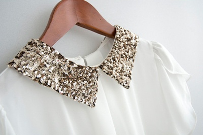 gold collar: Blouses, Sequins Collars, Fashion Statement, Style, Clothing, White Shirts, Peter Pan Collars, Dresses Shirts, Trends Fashion