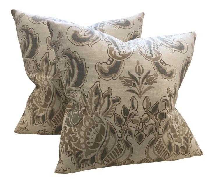 Neutral Floral Pillows - A Pair on Chairish.com