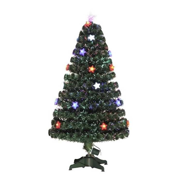 HOMCOM 3ft (90cm) Fibre Optic Artificial Christmas Tree w. Star Lights | aosom.co.uk
