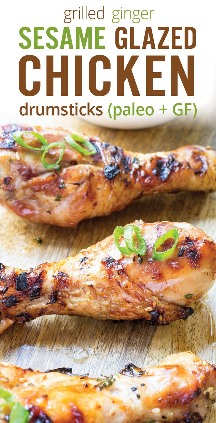 Healthy Grilled Ginger Sesame Glazed Chicken Drumsticks. Marinated is soy sauce, sesame oil, ginger, chili, garlic, cilantro and green onions. Gluten free and paleo barbecue chicken drumsticks. - www.platingpixels.com