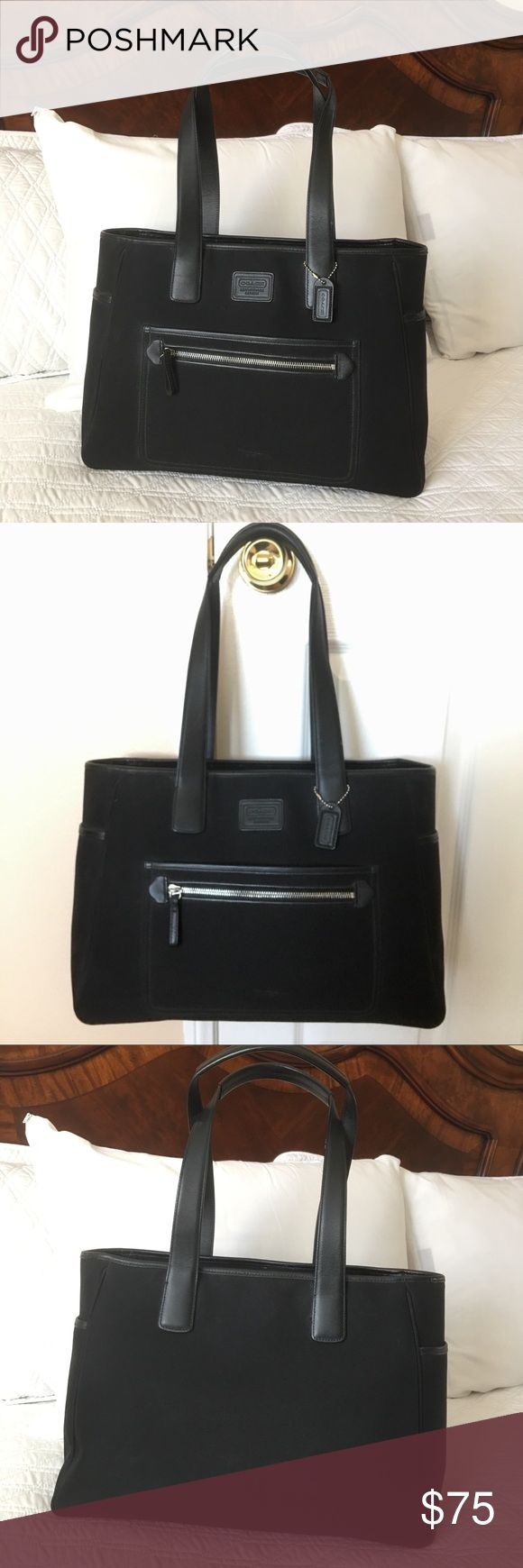 "Authentic Coach Large Handbag Authentic! Beautiful black handbag from Coach 💕 Lightweight and very spacious! Approximately (not exact) 15 1/2"" x 11"" x 6"" Strap drop is about 10 1/2"" Zipper top closure w/ pockets inside. Used (marks/scratches) and in good condition NO TRADE ❌ FINAL PRICE, NO DISCOUNT ❌ Coach Bags"
