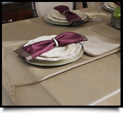 Silk Table Cloth Matching Runner And Elegant Napkins Complete Our Formal Setting