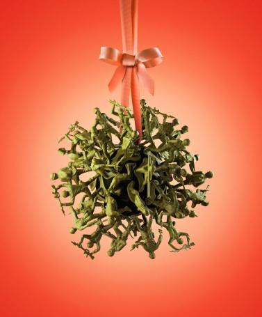 Toy army men mistletoe or ornament