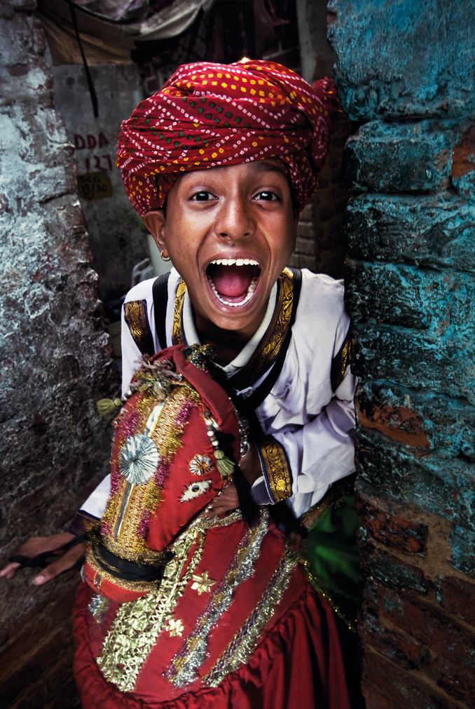 Dancer of Kachhi Ghodi in Kathputli Colony Slum, New Delhi, India