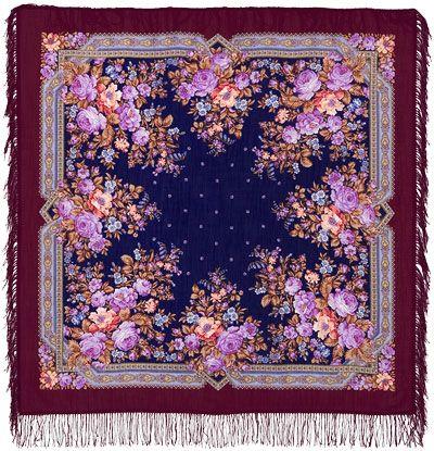 Шали 125х125 : Павловские розы 1341-7, павлопосадский платок шерстяной с шерстяной бахромой