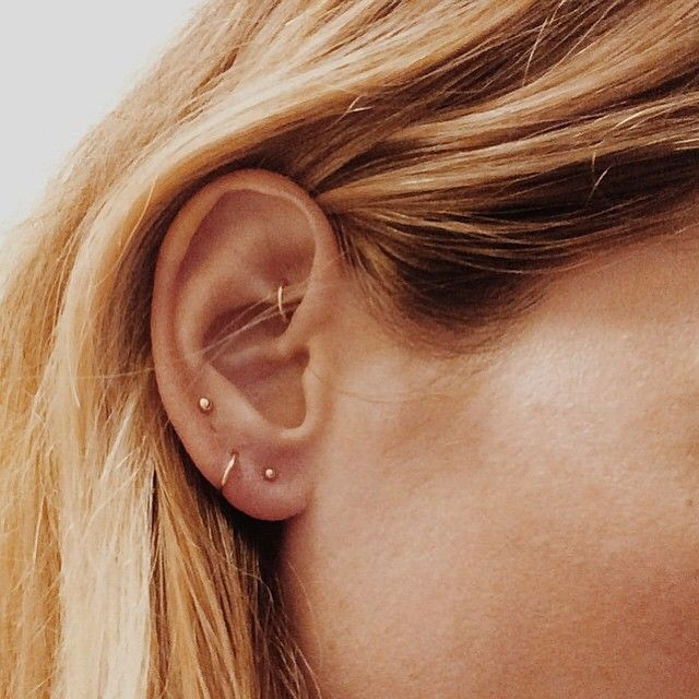 delicate gold hoops & studs #piercings #earrings #brvtvs #jewelry