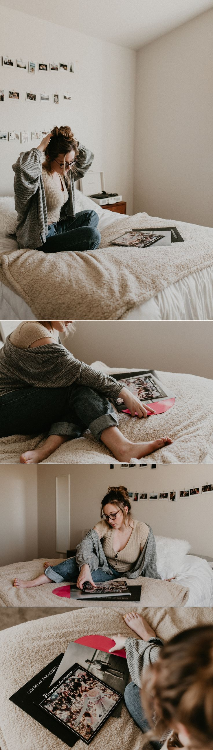 Boise Boudoir Photographer Boudoir By Kayla Makayla Madden Photography Idaho Lifestyle Boudoir Urban Outfitters Boise Senior Photographer Polaroids Lazy Day Vibes Uo On You Sweater Weather Raw Real Boudoir Portraits Vinyls Records Vintage Portrait Session