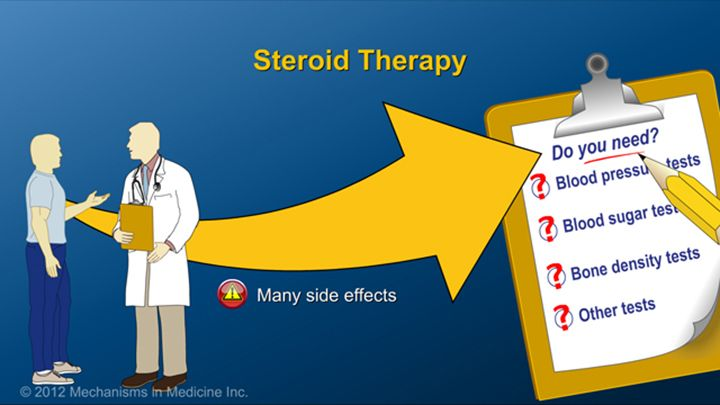 Although sometimes medically necessary, steroids are associated with many side effects, so patients on steroids (even short-term) should communicate with their doctor to determine if blood pressure, blood sugar, bone density, and other tests are required.slide show: preparing for ibd therapy. this slide show describes ways patients with inflammatory bowel disease ibd can prepare for their therapy and medications.