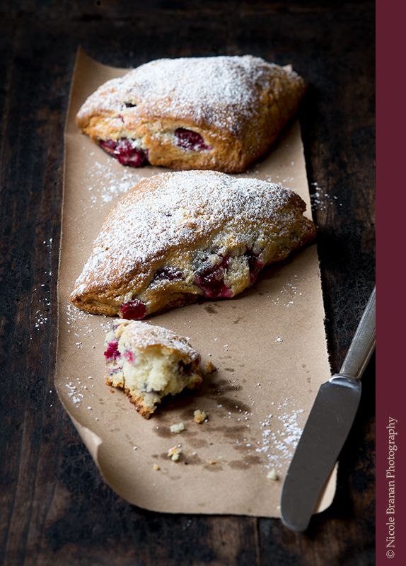 An easy recipe for buttery, juicy, sweet and tart cranberry scones.