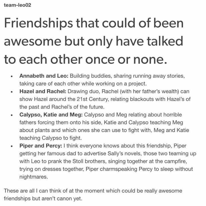 """I mean they are """"canon"""", most of them are friends out of the fact that they go to the same camp and have been on quests together, they just get so little page time..."""