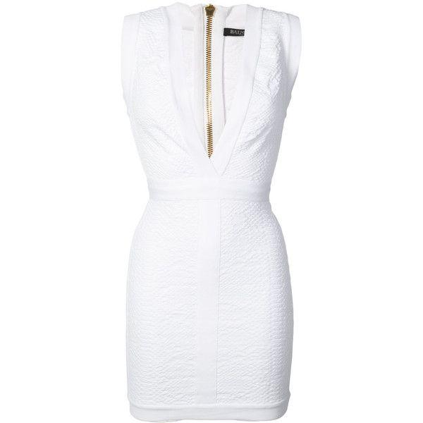 Balmain Deep v-Neck Mini Dress (£1,430) ❤ liked on Polyvore featuring dresses, white, mini dress, v neck short dress, summer dresses, v neck summer dresses and white v neck dress