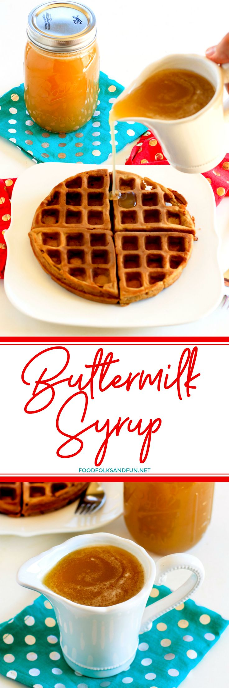 Homemade Buttermilk Syrup is the best syrup in the history of pancake and waffle syrups! It's buttery, delicious, and SO easy to make.