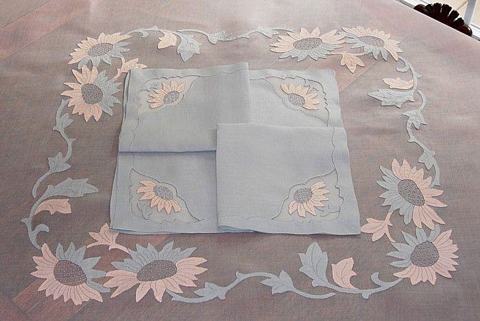 Em's Heart Antique Linens -Imperial Linens Sunflower Organdy Tablelcoth Napkins Set