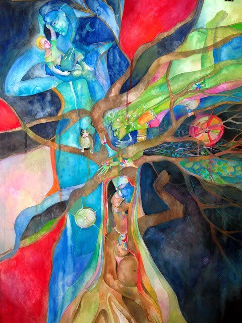 Russian Vassia Alaykova, New York based. 'The tree of life' 2014.  In her words: 'mother Nature as healer, rebirth, female sensuality, love'
