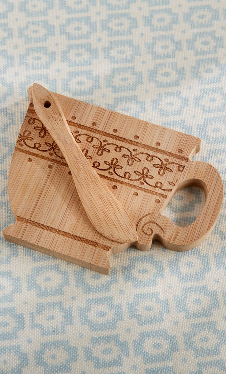 Tea Time Whimsy Teacup Shaped Cheeseboard and Spreader