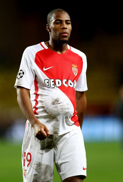 Goalscorer Djibril Sidibe of AS Monaco walks off with the ball under his shirt during the UEFA Champions League Group E match between AS Monaco FC and Tottenham Hotspur FC at Louis II Stadium on November 22, 2016 in Monaco.