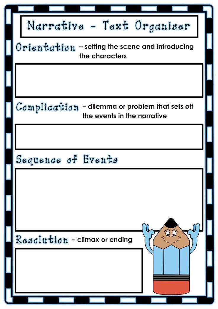 Blank text organiser for narrative texts. Classroom Treasures: Narrative Writing