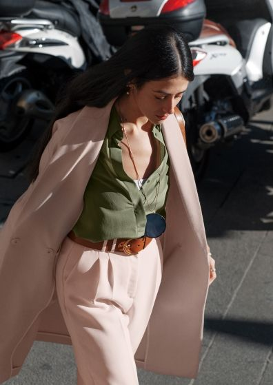 Gilda Ambrosio in &Other Stories; Pink Trousers; Military Shirt; Pink Coat