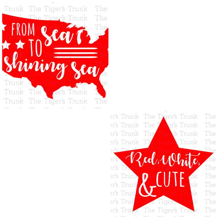 By purchasing these files, you are agreeing that they will be for personal use only. You may not share, forward, or otherwise use them for profit.  This is a digital download of a two separate cutting file sets: Red, White, & Cute and From Sea to Shining Sea. With this purchase, you will receive two zipped folders containing these image in SVG, DXF, and JPG formats. These files are suitable for use in Cricut Design Space, Sure Cuts A Lot, Make The Cut, Silhouette Basic Edition, and Silhou...
