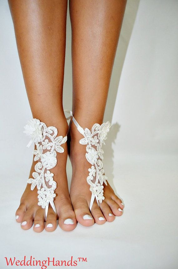 Lace sandals for wedding Footless bridal Foot by WeddingHands