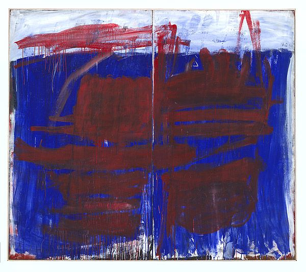 Tony TUCKSON    1921 Ismailia, Egypt – Wahroonga, New South Wales, Australia 1973        Australia from 1946      Europe, United States of America 1967-68       Red on blue and white 1970-73  synthetic polymer paint on two composition boards 213.5 h x 244.7 w cm  Gift of James Erskine 2011 Donated through the Australian Government's Cultural Gifts Program  Accession No: NGA 2011.832