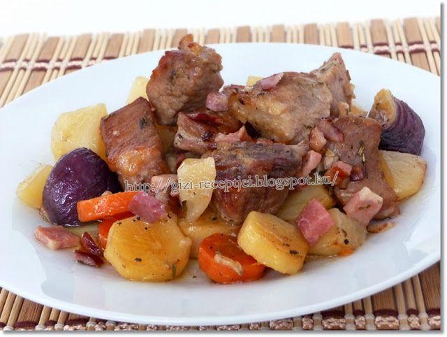 Gizi-receptjei. Várok mindenkit.: Hétvégi receptajánló!!! Fokhagymás sertéssült zöldségekkel.