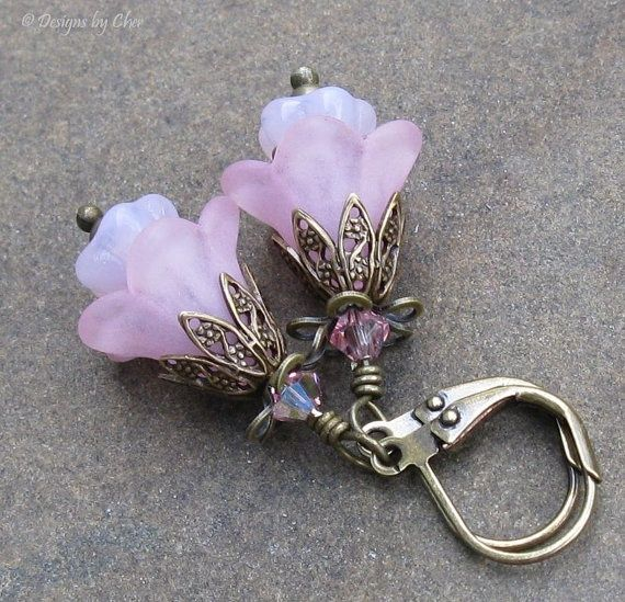 lucite flower earrings | Pink Lucite Flower Earrings Antique Brass by DesignsbyCher on Etsy, $ ...
