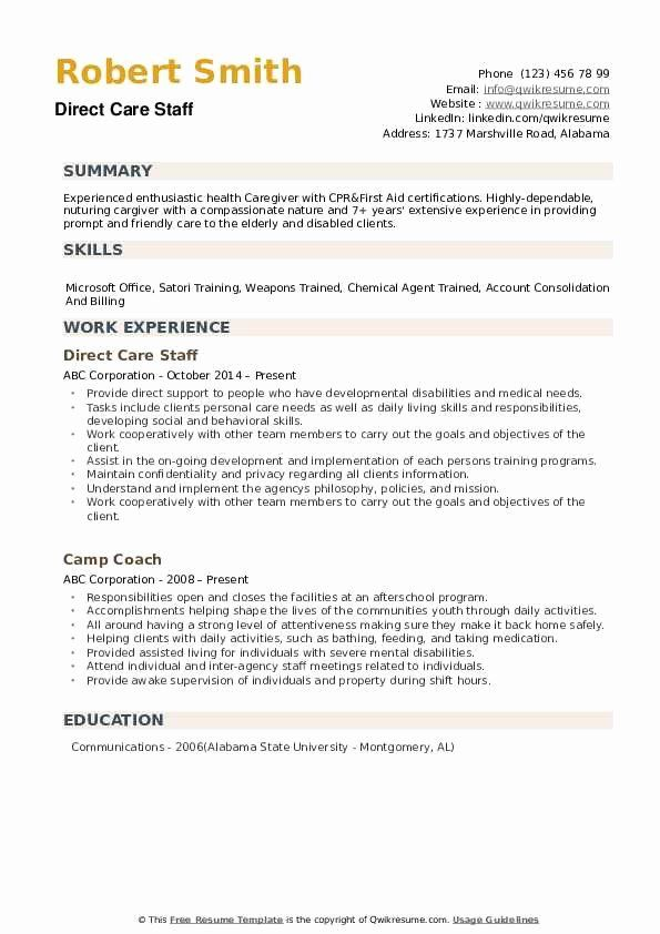 20 direct care worker resume in 2020