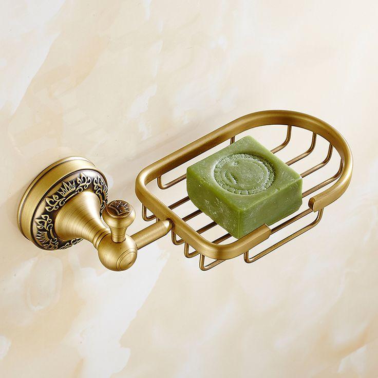European Bronze Soap Dish Holder Bathroom Antique Solid Brass Carved Soap Net Shelf Bathroom Accessories Pi4