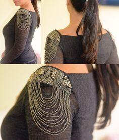 OMBREIRA - DIY customização de roupa aplique bordado miçangas