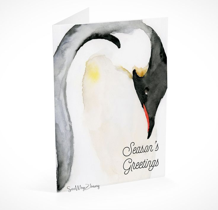 Instant Download Penguin Holiday Card Template Christmas Card