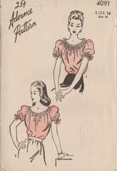 Advance 4091 Ladies Peasant Ruffle Blouse Vintage 1940's Sewing Pattern Short Puff Sleeves Drawstring Scoop Neckline - collared womens blouse, black and white spotted blouse, ladies long sleeve shirts blouses *sponsored https://www.pinterest.com/blouses_blouse/ https://www.pinterest.com/explore/blouse/ https://www.pinterest.com/blouses_blouse/sleeveless-blouse/ http://www.landsend.com/shop/womens-shirts-blouses-blouses/-/N-fxw?brandCode=classic