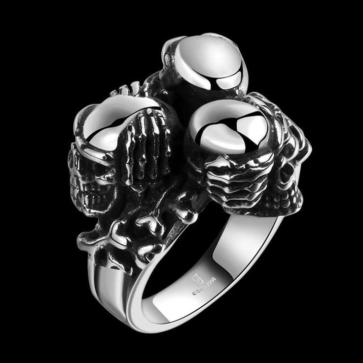 """""""See No Evil, Hear No Evil, Speak No Evil"""" 3 Skull Ring"""