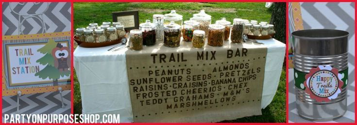 Camping Party – Trail Mix Bar – erstelle deinen eigenen Trail Mix, dann lege ……
